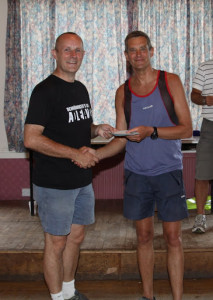 Barry receiving his prize