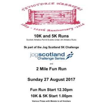 Teviotdale Harriers 10k/Jog Scotland 5k and Fun Run @ Hawick and Wilton Cricket Club
